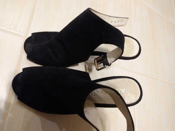 Skórzane Szpilki ALDO, czarne zamszowe, roz. 36