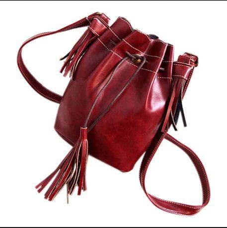Torebka na ramię worek bordowy czerwony