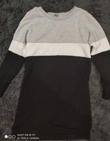 Bluza czarno - szaro - biała