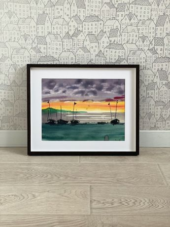 """Картина """"Лодки"""", """"Корабли"""", """"Мост"""""""