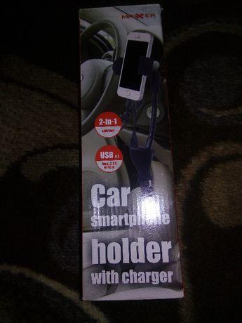 Uchwyt samochodowy do telefonu smartfona z ładowarką USB zapalniczka