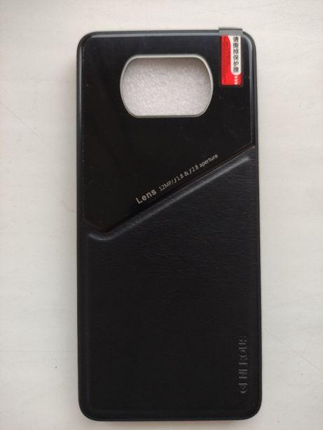 Силиконовый чехол POCO X3 NFC с кожаной вставкой чохол накладка