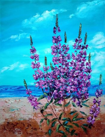 Ostróżki. Obraz olejny 65x50