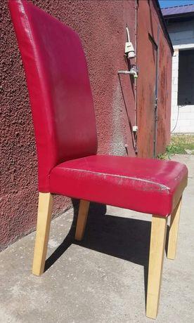 Krzesła do stołu do jadalni czerwone skay 6szt stabilne