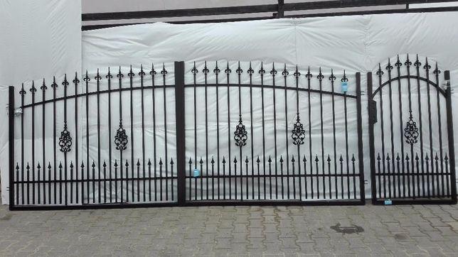 Brama dwuskrzydłowa EZ 4m z furtką i 3 słupami akcesoria KOMPLET !!!