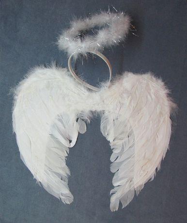 Крылья Ангела перьевые. Костюм ангелочек. Крылья и нимб.