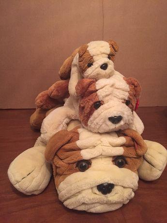 3 peluches cães bulldog inglês