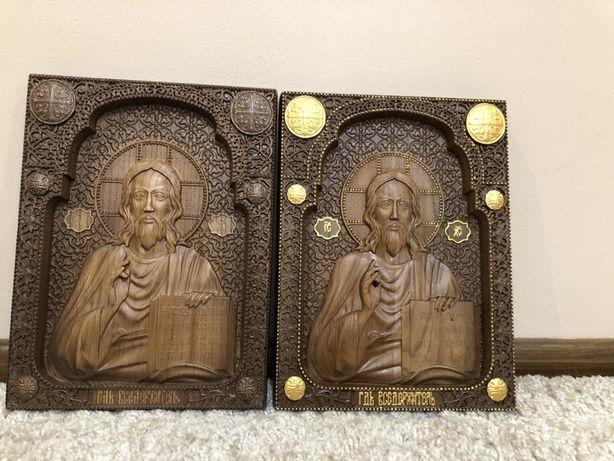 Різьблена ікона Вседержитель, Ісус з дерева чпу