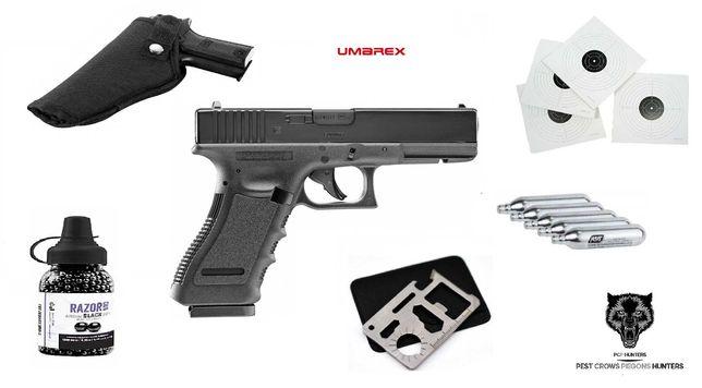 184 07 Pistolet Wiatrówka Glock-17 BLOWBACK CAŁY ZESTAW !! 4,5mm