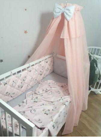 Постельное в детскую кроватку бортики, балдахин