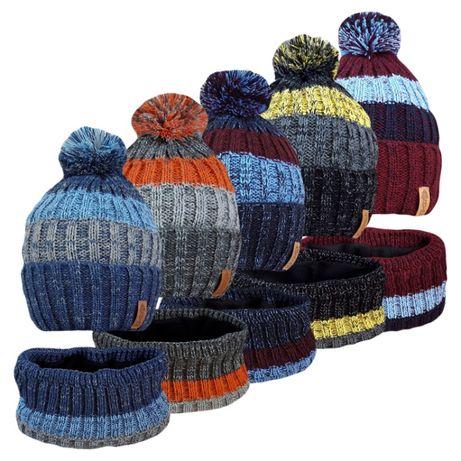 Всеми любимый комплект шапка с хомутом на флисе меланж ог. 50-58см