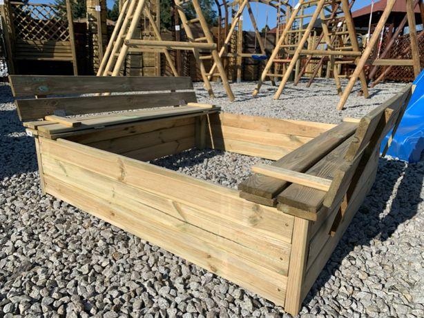 Piaskownica ANIA z siedziskiem 120x120 drewniana zamykana