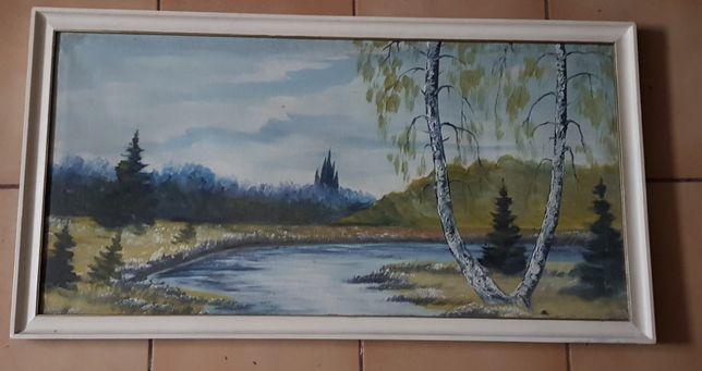 Obraz olejny las brzoza rzeka 92 x 50 cm