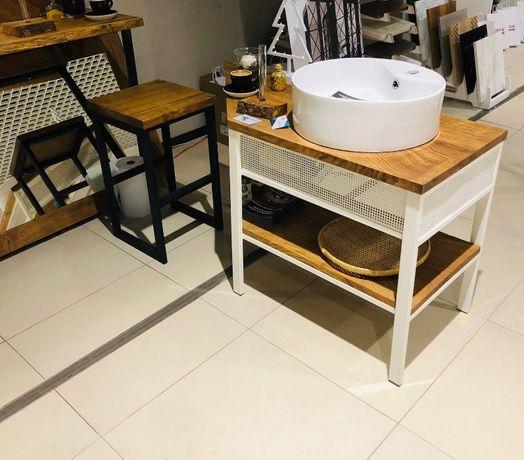 Szafka dębowa do łazienki umywalkowa loft regał