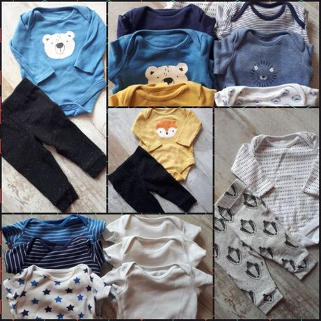 Wyprawka, komplet, paka ubrań, body F&F dla noworodka rozmiar 56