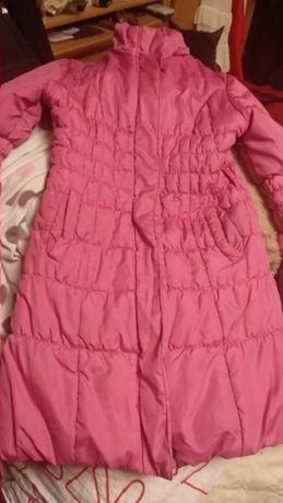 пальто детское розовое на девочку рост=140 см демисезонное куртка