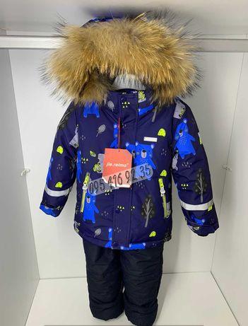 Зимний термо комбинезон комплект для мальчика jie reimo 92-116 мишутки