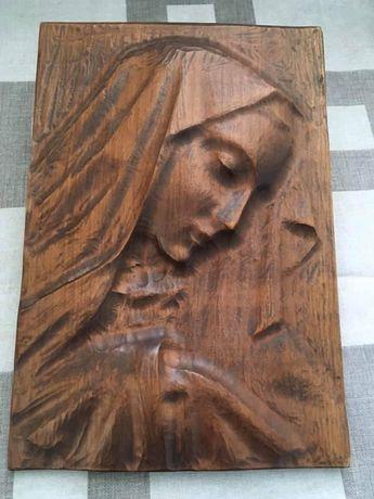 Drewniany obraz na ścianę rzeźba dekoracja drewniana