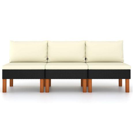 vidaXL Sofás de centro 3 pcs vime PE e madeira de eucalipto maciça 315768