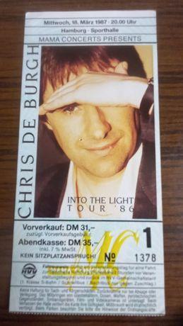 Билет в коллекцию с концерта Chris De Burgh Гамбург,18 марта 1987 год