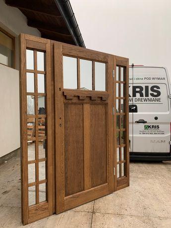 Drzwi zewnętrzne dębowe styl AMERYKAŃSKI 168X210