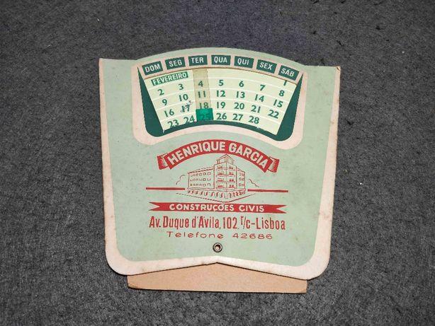 Antigo calendário de mesa Henrique Garcia Construções Civis