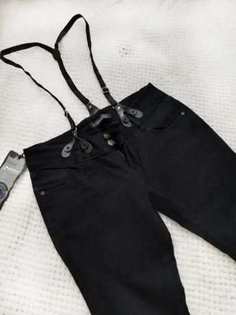 Джинсы черные с подтяжками, 29 размер