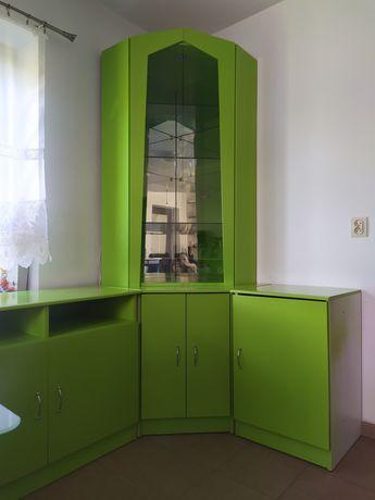 Meble zielone, komoda narożna z witryną, szafka RTV, szafka