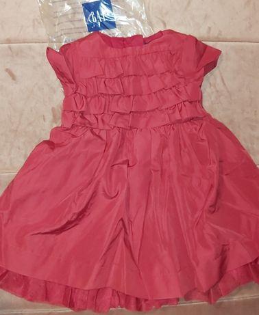 Nowa Gap Sukienka czerwona z majteczkami 12-18 mies 80cm