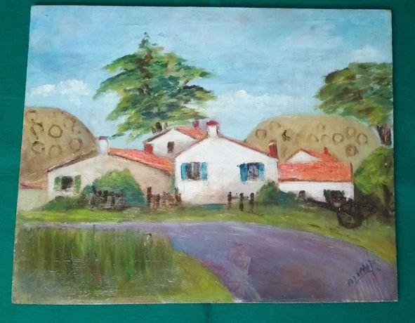 Pintura antiga a óleo sem moldura