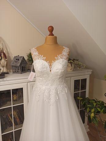 Suknia ślubna ADALINE Stella biała plus size 46 48