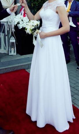 Śliczna suknia ślubna r. 36-38 - stan bdb.