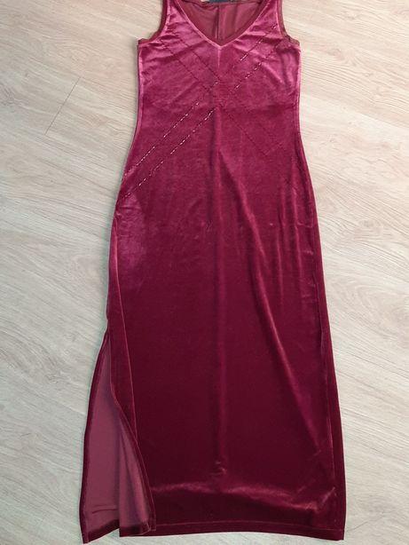 Piękna bordowa sukienka maxi na studniówkę