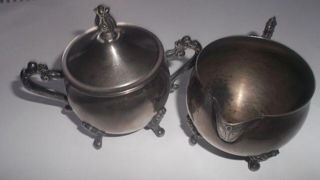 Vintage Leonard Silver Plate posrebrzana cukiernica i mlecznik