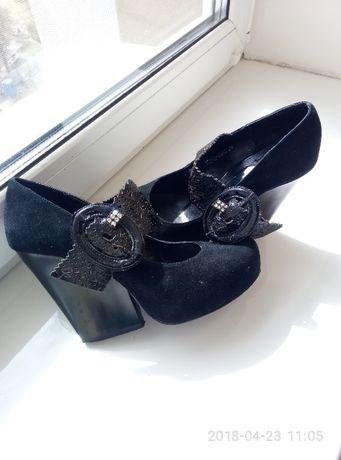 Нарядные Туфли,туфельки босоножки натуральный замш