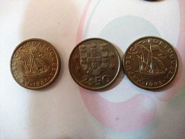 Conjunto de 205 moedas antigas de 2$50