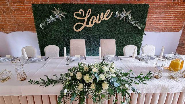 Ścianka rustykalna bukszpanowa wesele ślub plecy weselne bukszpan drew
