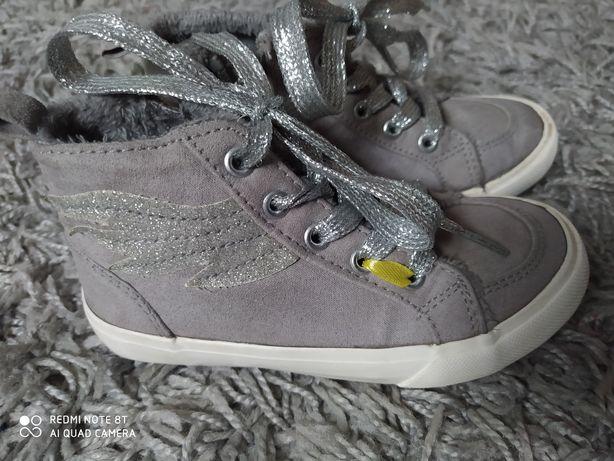 26 szare srebrne trampki buty trzewiki ocieplane
