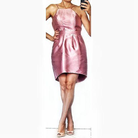 Sukienka pudrowy róż, r. S/M, Miss Selfridge, asymetryczna,usztywniana