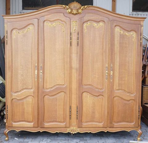 szafa ludwikowska ze złoceniami ludwik dębowa antyki stara drewniana