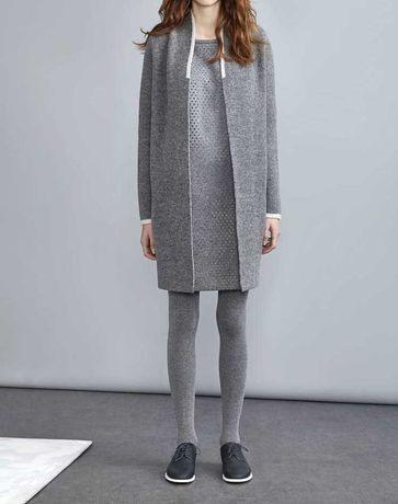 SOLAR szary wełniany płaszcz kardigan sweter massimo dutti wełna