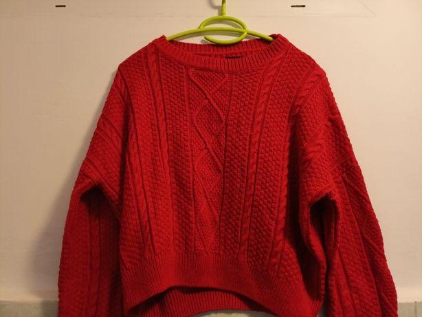 Sweterek czerwony pleciony sinsay