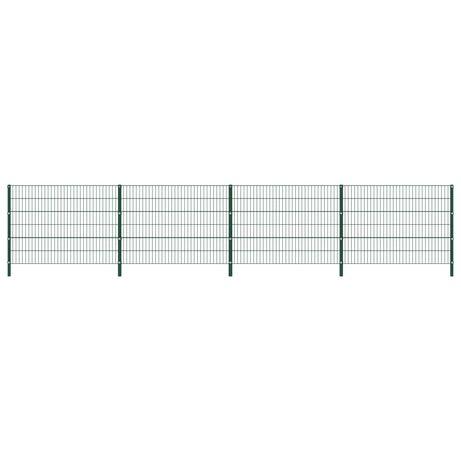 vidaXL Painel de vedação com postes ferro 6,8x1,2 m verde 278664