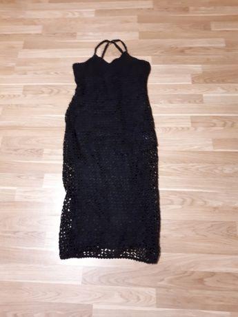 Sukienka szydełkowana czarna rozmiar 40