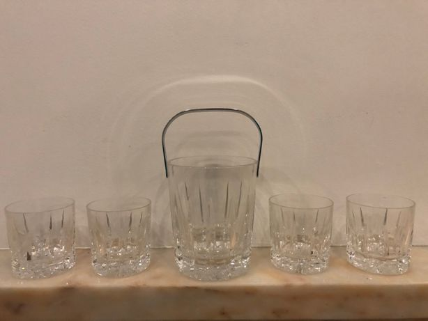 Balde de gelo e copos whisky - Cristal Atlantis