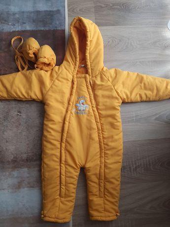 Kombinezon dziecięcy 86 żółty ocieplany rękawiczki