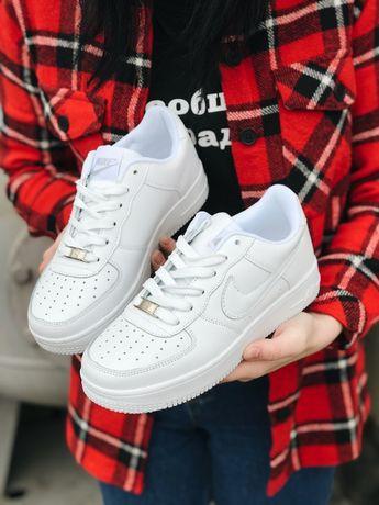 Кроссовки белые Найк Nike Air Force White Аир Форс на шнурках Скидка