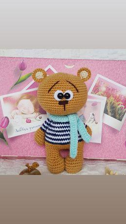 Вязаная игрушка мишка медведь