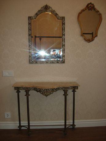 Консоль с зеркалом мрамор бронза Европа