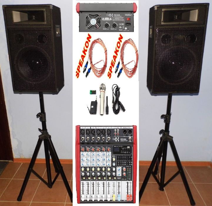 Zestaw Powermixer+2xKolumna+2xStatyw+2xPrzewody+Mikrofon 1000W RATY!